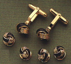 gold and black enamel knot cufflinks