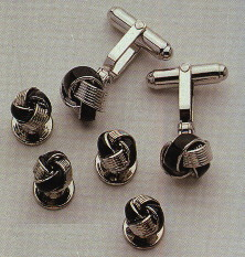 silver and black enamel knot cufflinks