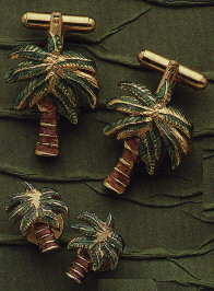 palm tree cuffkins & stud set