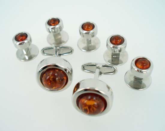amber cufflinks stud set