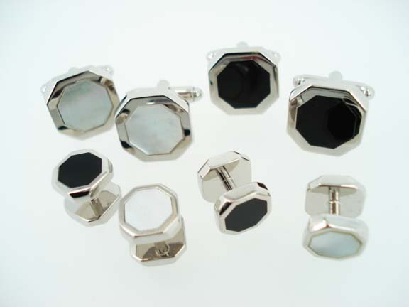 silver hexagon cufflinks and studs