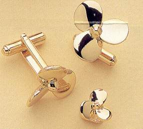 boat propellers - gold cufflinks & stud set