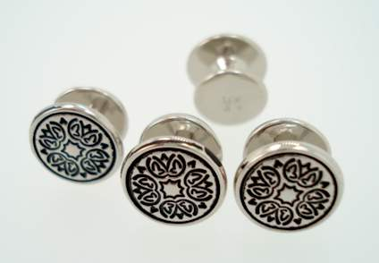 victorian enameled sterling stud set