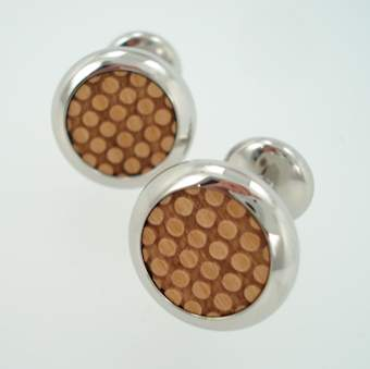 omooi cufflinks wood raised dot cufflinks