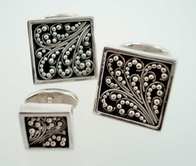 square flatwire cufflinks & stud set