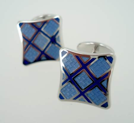 Pinched Offset Square Cufflinks - Blues