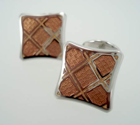 Pinched Offset Square Cufflinks - Copper Gold