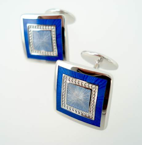Sterling Radiant Square Cufflinks - Blues