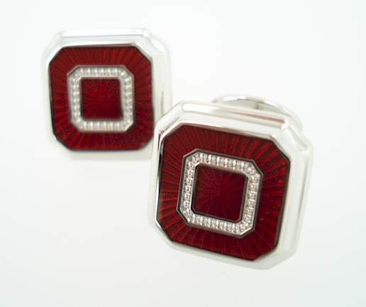 Sterling Hexagon Square Cufflinks - Burgundy Red