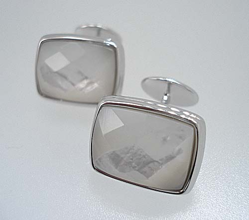 Faceted Pearl Cufflinks