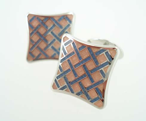 Sterling Compressed Square Cufflinks - Pink & Blue