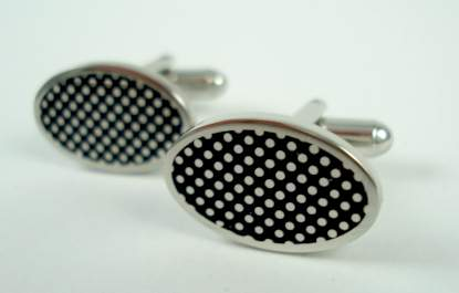 london badge & button black enamel superdot cufflinks