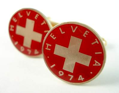 Hand Painted Swiss Cross Coin Cufflinks