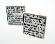 silver dictionary word cufflinks