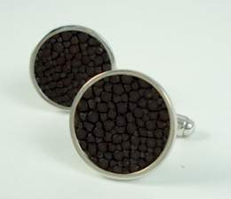 trace philip Brown Stingray Leather on Sterling Cufflinks