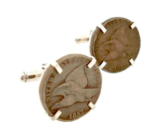 flying eagle coin cufflinks