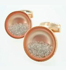 diamond dust rose gold cufflinks