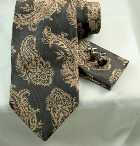 Woven Antique Paisley on Grey 4pc Set