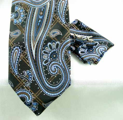 Elongated Paisley on Woven Squares 4pc Set