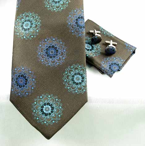 Woven Turquoise Blue Cupola Pattern on Brown Pique 4pc Set